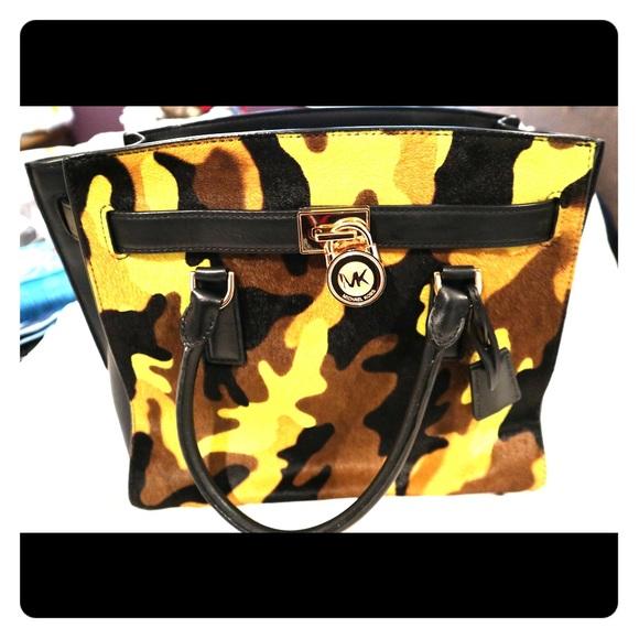 Michael Kors - Green Camo haired, leather bag